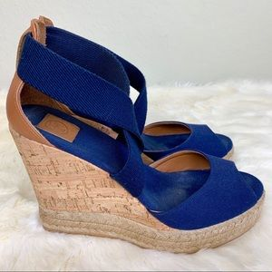 Tory Burch navy blue sandal wedge heels 7